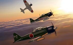 Картинка Япония, арт, Mitsubishi, истребитель-перехватчик, WW2, A6M5 Zero, ВМС Императорской Японии
