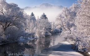 Обои зима, снег, деревья, горы, природа, река