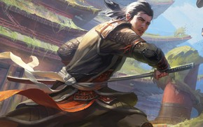Картинка sword, fantasy, weapon, katana, man, painting, artwork, Samurai, warrior, fantasy art