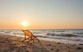 Картинка песок, море, волны, пляж, лето, небо, закат, берег, шезлонг, summer, beach, sea, sunset, seascape, romantic, …