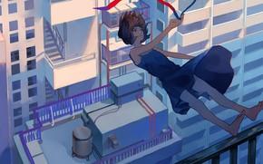 Картинка девушка, город, падение, лента