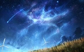 Картинка небо, ночь, природа, ветряки, падающие звезды, by CZY