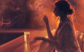 Обои стакан, девушка, скука, Mandy Jurgens, стулья, дым, профиль, барная стойка, сигарета