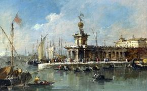 Картинка пейзаж, лодка, Венеция, канал, таможня, Франческо Гварди, Francesco Lazzaro Guardi, Пунта делла Догана