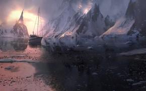 Картинка снег, горы, корабль, лёд, Ice world
