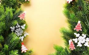 Картинка украшения, новый год, игрушки на елке, ветки ели