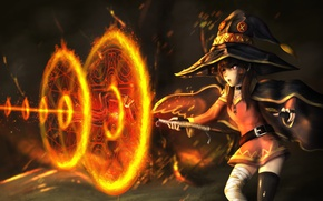 Обои anime, spark, flame, oriental, japanese, asiatic, wizard, asian, Megumin, Give Blessings on This Wonderful World, ...