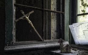 Картинка стекло, крест, окно