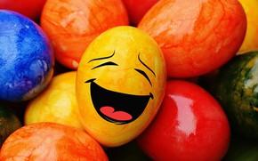 Картинка colorful, смайл, Пасха, rainbow, Easter, eggs, funny, decoration, Happy, яйца крашеные