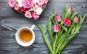 Картинка цветы, коробка, розы, букет, тюльпаны