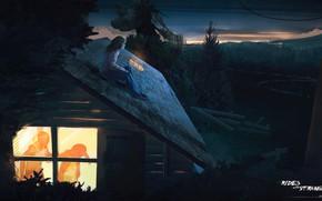 Картинка крыша, лес, девушка, окно, родители, ссора, Rides With Strangers