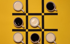 Картинка чёрный, кофе, чашки, крестики нолики, с молоком