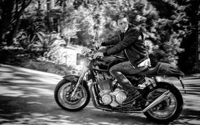 Обои дорога, деревья, джинсы, размытие, куртка, мотоцикл, черно-белое, байкер, байк, фотосессия, боке, свет фар, Джереми Реннер, ...