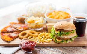 Картинка кола, чипсы, бургер, картофель, фаст-фуд
