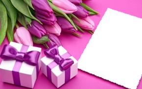Картинка букет, тюльпаны, love, бант, fresh, pink, flowers, romantic, tulips, gift, purple