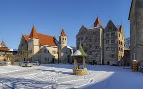 Картинка зима, замок, Германия, Гамбург, Harburg