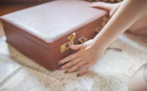 Обои вещи, руки, чемодан, чумадан, карта