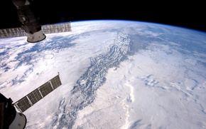 Обои НАСА, Скалистые горы, МКС, планета, Земля