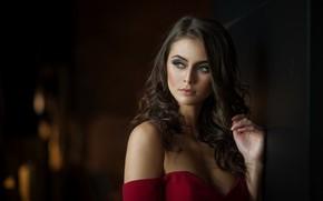 Картинка фон, модель, портрет, макияж, прическа, шатенка, красотка, зелёные глаза, боке, Jessica, Mark Prinz