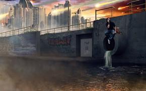 Картинка город, мужик, труба, слив, Fire Rain