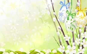 Картинка рисунок, Пасха, верба, крашенки