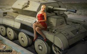 Обои девушка, рисунок, платье, арт, блондинка, танк, на красном, британский, World of Tanks, лёгкий, Nikita Bolyakov, ...