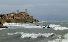 Картинка море, волны, Франция, башня, дома, Лазурный берег, Антиб