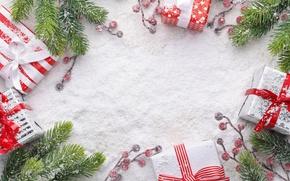 Обои winter, christmas, ветки, xmas, Рождество, wood, ягоды, gifts, fir tree, снег, merry christmas, snow, подарки, ...