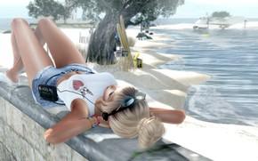 Картинка лето, очки, музыка, девушка, море, тело, волосы, ножки, лицо, фигура, лежит