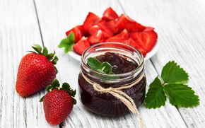 Обои клубника, джем, десерт, банка, еда, strawberry