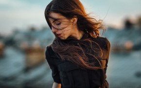 Картинка лицо, ветер, волосы, портрет, боке, Павел Мыльников, Мариночка Сулаберидзе, Pavel Myl'nikov