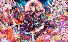 Картинка девушка, цветы, рожки