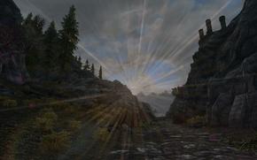Картинка дорога, солнце, деревья, форт, road, trees, sun, skyrim, скайрим, fort, tes 5