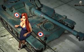 Картинка девушка, рисунок, арт, танк, World of Tanks, Nikita Bolyakov, AMX ELC