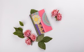 Картинка цветы, розы, букет, блокнот, розовые, pink, flowers, композиция, roses