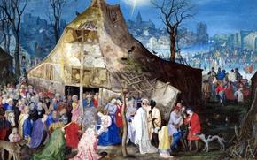 Картинка картина, религия, мифология, Ян Брейгель старший, Поклонение Королям
