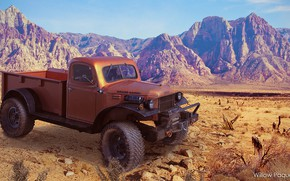 Картинка горы, пустыня, Refurbished 1947 Dodge Power Wagon