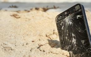 Картинка beach, Sand, phone, cellular
