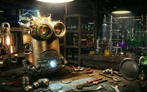 Картинка инструменты, кабинет, лаборатория, Steampunk Minion, Дмитрий Тен