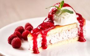 Картинка ягоды, малина, мороженое, пирожное, cake, крем, десерт, сироп, dessert, бисквит, Ice cream