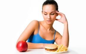 Картинка девушка, поза, яблоко, еда, завтрак, макияж, майка, брюнетка, тарелка, прическа, белый фон, сидит, бутерброд, гамбургер, …