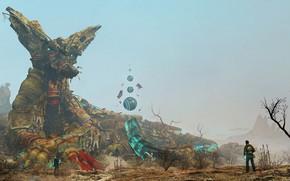 Картинка горы, люди, дерево, существо, The Giant Animals of Garrys mod