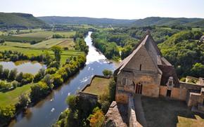 Картинка пейзаж, река, Франция, Dordogne, le chateau de Beynac