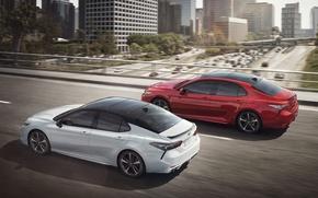 Обои Red, Toyota, White, Camry, 2017, XSE