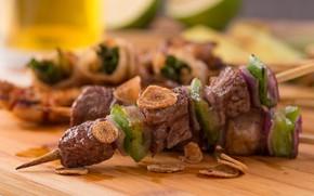Картинка Овощи, Блюдо, Шашлык, Мясо