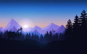 Обои Горы, Игра, Птица, Лес, Вид, Холмы, Олень, Пейзаж, Животное, Campo Santo, Firewatch, Пожарный дозор