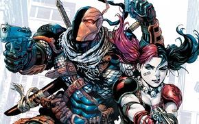 Картинка girl, sword, gun, fantasy, comics, weapons, artwork, mask, superheroes, fantasy art, DC Comics, Harley Quinn, …