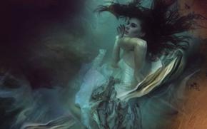 Картинка вода, девушка, платье, под водой