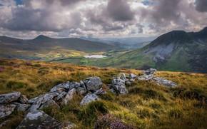 Картинка горы, камни, долина, Уэльс, Сноудония