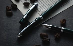 Картинка перо, кофе, зерна, ручка